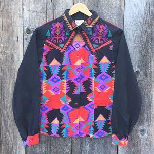 VTG Southwestern Print Cowgirl Shirt sz M